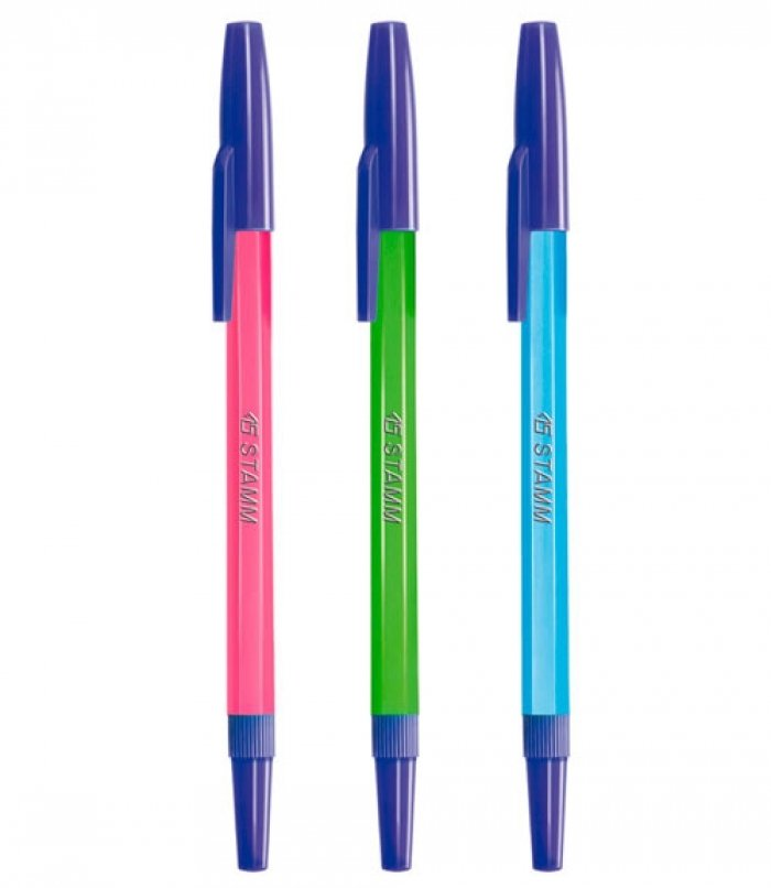 Ручка шариковая РШ049, флюоресцентная, с синим стержнем арт РШ01